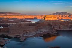 Alstrom Point moonrise (Bill Bowman) Tags: sunset reflection utah moonrise lakepowell navajomountain fiftymilemountain gunsightbutte alstrompoint
