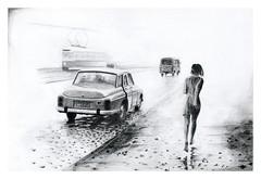 Warszawa, ul. Puawska, 1968 (Karwik) Tags: street car pencil pencils drawing 1968 warszawa m20 samochd owek fso rysunek zbyszko ulica pulawska olowek siemaszko