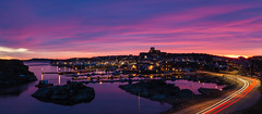 A nice end to this week (Per-Karlsson) Tags: pink sea seascape water island evening coast colours sweden outdoor dusk trails marstrand bohuslän bohuslan cartrails swedishwestcoast carlstensfästning carlstenfortress