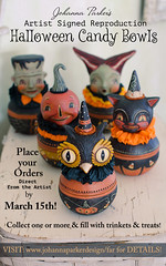 Johanna-Parker-Halloween-Candy-Bowl-Orders (Johanna Parker Design) Tags: halloween blackcat design jackolantern frankenstein owl collectible reproduction whimsical vintagestyle licensed candybowl johannaparker bethanylowedesigns