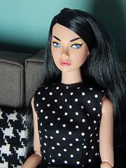 Moody (Levitation_inc.) Tags: fashion toys doll dolls mood dress handmade ooak levitation polka dot changer poppy brunette raven parker bergdorf integrity changers repaint restyled