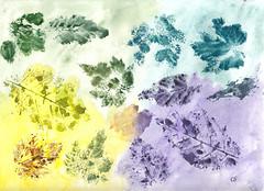 Autumn Leaves Watercolor Imprints (csfgirl) Tags: leaves watercolor blues golds watercolors yellows teals imprints purples watercolorpaintings