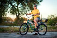 Boy On His Bike (AceOfKnaves) Tags: portrait beach bike bicycle self cycling basket legs commuter eco cruiser freebird shortshorts roadmaster