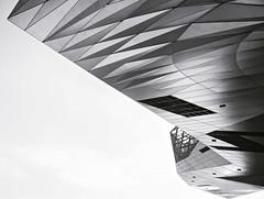 Lyon - Muse des Confluences. (Gilles Daligand) Tags: blackandwhite texture lyon noiretblanc diagonale rhone minimalisme fondblanc museedesconfluences aileavion