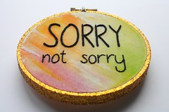 sorry not sorry (ShinyFabulousDarling) Tags: glitter hoop handmade embroidery embroidered handstitched handsewing embroideryhoop handembroidery hoopart embroideredart