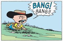 BANG! BANG!! (Tom Simpson) Tags: illustration vintage comics cowboy gun peanuts 1950s charliebrown charlesschulz bang cowboyhat 1952 charlesmschulz