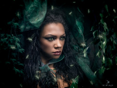 Pantanalia (acahaya) Tags: green girl jungle hood cateyes leafs pantanal omd mft