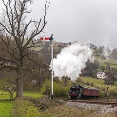 Leaving Glyndyfrdwy (4486Merlin) Tags: wales europe unitedkingdom transport steam countries signals railways llangollenrailway gbr clwyd tynewydd denbighshire heritagerailways 80072 80096 springsteamgala exbr brstd4mt264t