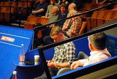 Stephen Hendry and John Parrott rehearsing for BBC2 (zawtowers) Tags: world television john championship afternoon chairs theatre rehearsal sheffield first down stephen round tuesday april session sat snooker 19th bbc2 crucible hendry parrott 2016 betfred thehomeofsnooker