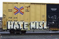 Hate Misl (BombTrains) Tags: road railroad art train bench graffiti paint tag graf rail spray soak hate graff freight fr8 benching misl