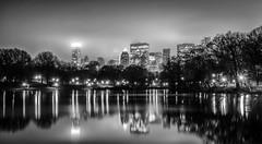 Central Park view of Midtown B&W (trunks_pj) Tags: newyorkcity usa newyork reflection fog skyline skyscraper us nikon unitedstates centralpark foggy midtown newyorkskyline cityfog pjsampson peterjamessampson