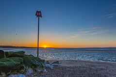 Low Tide Sunrise (nicklucas2) Tags: blue sea seascape water rock sunrise seaside sand seagull isleofwight solent lowtide groyne