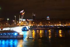 Lyon, France (E*M) Tags: city bridge light reflection architecture eau lyon rhne reflet pont nuit ville drapeau clairage incity lugdunum poselongue