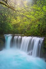 Spirit Falls (JustinPoe) Tags: blue west water forest river coast waterfall washington aqua pacific northwest spirit teal columbia falls gorge pnw gifford