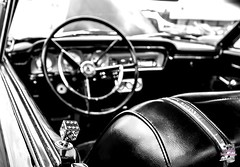 roll with the dice (Soleful Impressions) Tags: blackandwhite dice car vintage steeringwheel antinquecar