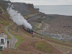 "LMS Royal Scot Class 7P 4-6-0 No 46100 ""Royal Scot"" in charge of ""The Scot Commemorative"" at Parton located between Workington and Whitehaven 16th April 2016 (penlea1954) Tags: uk coast no royal class steam line scot carlisle whitehaven commemorative parton the lms 460 workington cumbrian 46100 7p"