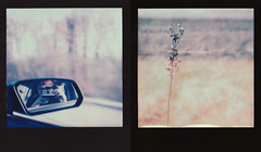 journey's end (Lisa Toboz) Tags: selfportrait field polaroid sx70 mirror diptych meta roadtrip westernpennsylvania instantfilm impossibleproject polaroidweek2016