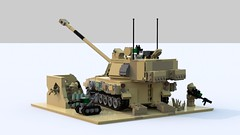 "M109A6 ""Paladin"" Self-Propelled 155 mm Howitzer Diorama (TheRookieBuilder) Tags: lego render armored diorama paladin tracked howitzer legodigitaldesigner m109a6 bluerender"