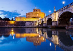 Roma si specchia ... e si fa bella ... (giovanni_spina) Tags: bridge blue sunset sky italy rome roma clouds river twilight tramonto tevere poesia bluehour castelsantangelo afterglow riflesso bello quiete beautuful