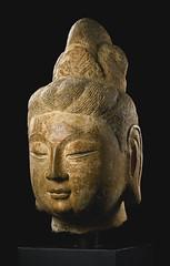 A gray stone head of a bodhisattva, China, Tang dynasty (mike catalonian) Tags: china sculpture tang ancientfareast