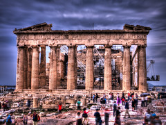Life moves pretty fast, if you don't stop and look around once in a while, you could miss it... (Michelle Tuttle) Tags: people holiday blur building art film public architecture movement europe bright quote watching progress athens tourists greece colourful visitors metaphor acropolis development hdr ferrisbueller peoplewatching meaningful erechtheum metaphoric
