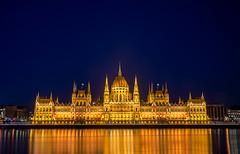 Budapest Parliament (HannahGE) Tags: city longexposure travel winter urban holiday reflection night landscape europe hungary budapest january 2016 citybreak hannahgerrish