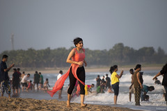 tinsel in the middle of summer (subhajyoti) Tags: india beach candid pondicherry subhajyotiroychowdhury sandfoam