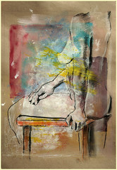 Stehende, halb sitzend, Bein uber Hocker (Alemwa) Tags: woman berlin kreuzberg nude akt kohle sketching acryl zeichnung bung zeichnen pastellkreide alemwa