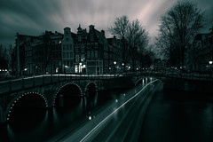(angheloflores) Tags: longexposure bridge houses sky urban water netherlands colors amsterdam clouds reflections canal explore keizersgracht ligths