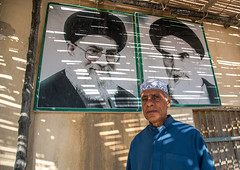 old bandari sailor in front of khameini and khomeini portraits in a house, Hormozgan, Bandar-e Kong, Iran (Eric Lafforgue) Tags: portrait people man men senior horizontal outdoors photography asia iran propaganda muslim islam persia kong human iranian sailor adults adultsonly oneperson middleeastern persiangulf sunni ayatollah menonly seniorman khomeini hormozgan lookingatcamera  bandari onemanonly waistup  1people  iro straitofhormuz  colourpicture bandarekong  irandsc04933