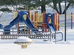 empty playground ~ HFF! (karma (Karen)) Tags: snow fences maryland baltimore neighborhood brightcolors blizzard 4winter playgrounds hff fencefridays