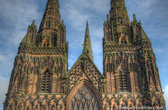Lichfield Cathedral 3 Ways (anniew69) Tags: cloud building texture church nikon december cross cathedral stainedglass steeple spire hdr highdynamicrange hdri lichfield edifice edifices churchspire placeofworship lichfieldcathedral 2015 photomatix religiousbuilding photographytechnique d7000 anniewilcox wwwanniewilcoxcouk