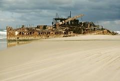 The wreck of the SS Maheno, Great Sandy National Park, Fraser Island, Qld., September, 1986. (garratt3) Tags: ocean sea film beach sand pentax australia shipwreck qld queensland kodachrome aus fraserisland maheno greatsandynationalpark