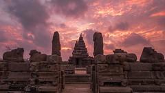 Mahabs (rameshsar) Tags: morning india colors clouds sunrise dawn fuji mahabalipuram 1024 templearchitecture xt1