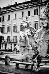 A Famous Bench (Gian.luca) Tags: street urban rome roma monochrome tourist bn riposo rest piazzanavona turista panchina