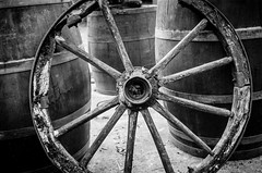 (Why Why) Wesss (DomiKetu) Tags: wood old wild blackandwhite bw black west film monochrome wheel analog vintage mono blackwhite oak nikon fuji iso400 barrels wheels barrel western neopan expired selfdeveloped homemadesoup blackwhitephotos barrythorntons2bathdeveloper