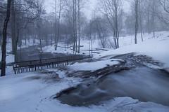 Misty wintery park (petterikari) Tags: park longexposure winter mist snow ice river pond eerie samyang14mm