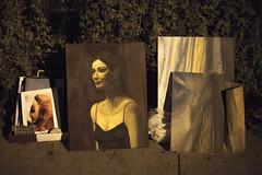 She looks unhappy (wwward0) Tags: nyc brooklyn night painting outdoor cc sidewalk discarded wwward0
