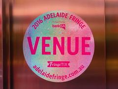 2016 Adelaide Fringe Venue sticker on elevator doors (RS 1990) Tags: festival march sticker 4th fringe adelaide friday venue southaustralia 2016