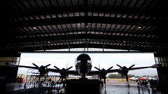 """Connie"" Lockheed Constellation (Mikey Down Under) Tags: tarmac silhouette airport hangar australia nsw planes inside connie lockheed constellation hars illawarra historialaircraftrestorationsociety wollonongong lbionpark"