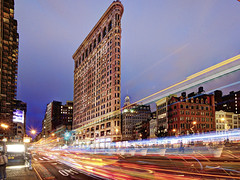 City Speed (Tony Shi Photos) Tags: nyc newyorkcity newyork manhattan lighttrails flatironbuilding flatiron touristattraction traffictrails flatirondistrict blurredmotion famousplace interntionallandmark