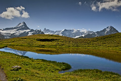 Alpine Panorama, First, above the Bachsee. Canton of Bern. Switzerland. No. 8790. (Izakigur) Tags: lake alps water schweiz switzerland eau wasser suiza pics lac thelittleprince dieschweiz berneroberland lasuisse d700 nikond700 nikkor2470f28 izakigur thejungfrauregion cantonofbern laventuresuisse