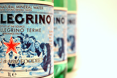 Are you a *real* foodie? (Caroline Oades) Tags: stilllife water logo italian natural bottles drink label beverage picasa mineral brand sanpellegrino sparkling branding foodie redstar strapline 67366 07032016 areyouarealfoodie