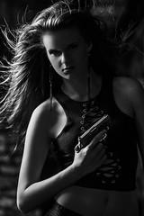 Sonnet and Walther (Jeffrey Michael Parsons) Tags: portrait people blackandwhite bw woman sexy girl monochrome beauty canon model gun gorgeous altitude dramatic pistol handgun imposing firearm waltherppk ef200mmf2lisusm eos5dmarkii davidbirdsongstudio sonnetgracewoolf
