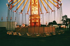 Going through old film and missing... (Lilah4) Tags: carnival film neon vermont dusk swings fair champlainvalleyfair thefair endofsummer uploaded:by=flickstagram instagram:photo=106412664411783636420652819