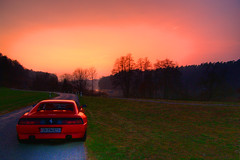 Evening glow (Stephi 2006) Tags: red darkness ferrari hdr eglisau