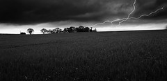 Struck Off (SimonTHGolfer) Tags: uk england blackandwhite field clouds landscape suffolk nikon moody sigma strike lightning 1020mm atmospheric forked d5100 simontalbothurnphotography