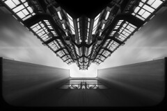SpaceShip ...... Paris (Yannick Lefevre) Tags: city light bw paris france building monochrome closeup town nikon europe raw nef cityscape perspective symmetry nb handheld capitale nikkor ville batiment 1635 d700 photoshopcc lightroomcc