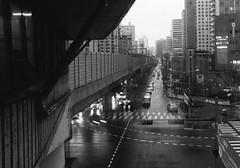 Rain Station (Lig Ynnek) Tags: street city blackandwhite cars film 35mm 200 seoul vista subwaystation agfa southkorea
