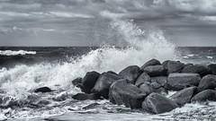 Splash! (johanbe) Tags: ocean sea sky blackandwhite bw storm denmark nikon rocks cloudy stones wave windy splash nikkor danmark vatten hav stenar vgor gedser klippor strmy blsigt d7200